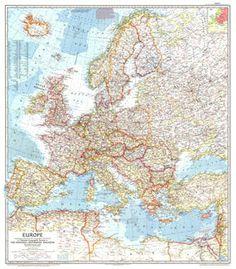 Vintage Map of Europe Cold War Europe June by Mapsfishingandbeyond, $21.50