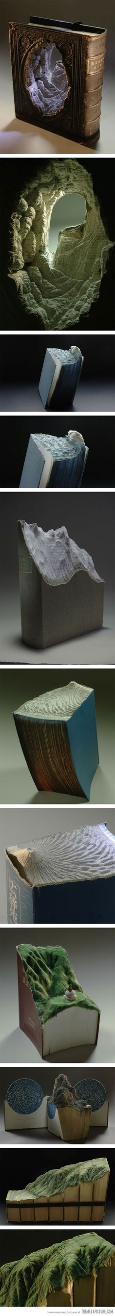 Carved Book Landscapes Partant pour le recyclage