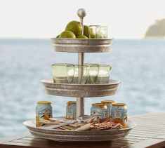Love the Pottery Barn one, but love the one that Kristen with Crafting Chicks does better. Repurpose Cake Pans into Tiered Stand Party Buffet, Tiered Stand, Summer Kitchen, Galvanized Metal, Tray Decor, Country Decor, Farmhouse Decor, Pottery Barn, Kitchen Ideas