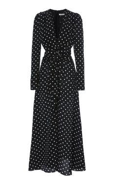 Polka-Dot Silk Crepe De Chine Midi Dress by Alessandra Rich Dresses For Sale, Dresses For Work, V Neck Midi Dress, Mode Hijab, Satin Dresses, Women's Dresses, Silk Crepe, Classy Outfits, Designer Dresses