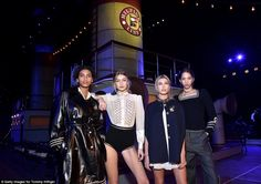 Star-studded runway: Gigi Hadid (second from left) and Hailey Baldwin (second from right) ...