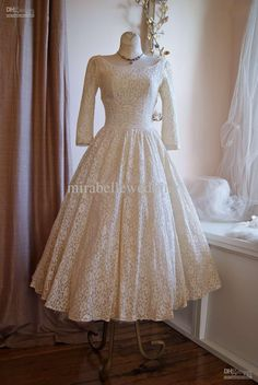 Wholesale - Vintage 50s Poland Style Scoop Neck Long Sleeves Tea Length Lace Ivory/White Wedding Dresses Wedding Gowns HK128, $183.27/Piece | DHgate