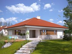 Projekt domu MT Decyma CE – DOM – gotowy koszt budowy – Back yard patio Bungalow Haus Design, Modern Bungalow House, Village House Design, Village Houses, Best House Plans, Dream House Plans, Style At Home, Tiny Guest House, House Construction Plan