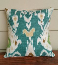 Turquoise Blue Waverly Tilbury Ikat Pillow Cover 16 Inch. $22.00, via Etsy.