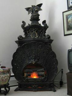 Elaborate and beautiful Gothic fireplace. Elaborate and beautiful Gothic fireplace. Art Nouveau, Gothic House, Victorian Gothic, Alter Herd, Old Stove, Antique Stove, Vintage Stoves, Goth Home, Gothic Furniture