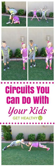 Circuits You Can Do With Your Kids - Get Healthy U - Family fitness is fun! Get your kids moving and get your workout in too with these fat burning circuits! Gross Motor Activities, Fitness Activities, Fun Activities, Physical Activities For Kids, Yoga For Kids, Exercise For Kids, Children Exercise, Healthy Exercise, Healthy Kids