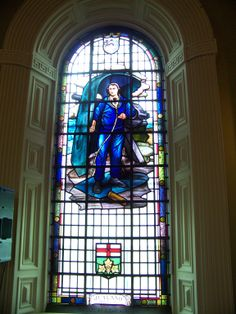 Stained glass tribute of John Travers Cornwell, located in the City Memorial Hall of Kingston Ontario, Canada