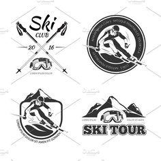 Vintage winter sports logos set. Illustrations