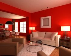 Living room with red walls, white and brown furniture, white rug, glass coffee table and brown chairs. Red Living Room Decor, Living Room Colors, Living Room Furniture, Living Room Designs, Dining Rooms, Colorful Interior Design, Room Interior Design, Red Rooms, Brown Furniture