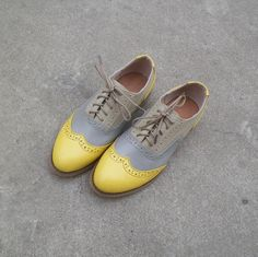 Grey and yellow leather oxford shoes by UniqueFlavor on Etsy  $100.00  I'm not sure if they're winter or summer....