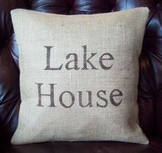 Lake House Burlap Pillow Cover 16 x 16 / by NorthCountryComforts, $34.00