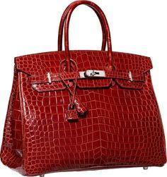 df3b90726d72 Hermes 35cm Shiny Rouge H Porosus Crocodile Birkin Bag