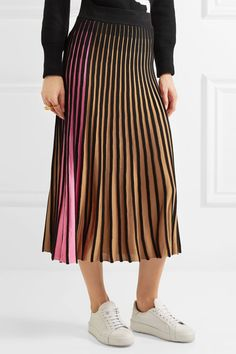 Black, brown and pink ribbed-knit Slips on 53% viscose, 47% cotton Dry clean Imported