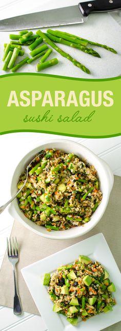 Asparagus Sushi Salad - vegan and gluten free | VeggiePrimer.com #sushibowl #sushisalad