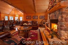Cozy open concept in our North Carolina plan. Photos and floor plans are at www.GoldenEagleLogHomes.com #loghomeliving #construction #loghomes #loghome #logcabins #cabin #logcabins #home #homes #houzz #outdoors #nature #rusticliving