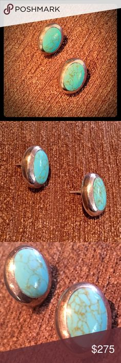 """Genuine Turquoise & Sterling Taxco Earrings A gorgeous pair of vintage earrings from Mexico using 100% genuine Taxco Silver and naturally sourced Turquoise. These beautiful pieces are handcrafted and a true compliment to any complexion and wardrobe. Oval stud earrings Inlaid with turquoise: measure 0.8"""" by 0.6"""" Posts with butterfly backs Sterling silver, stamped """"TB-167/Mexico/925"""" From silversmith town, Taxco, Mexico Weight: 9.61 grams Vintage Jewelry Earrings"""