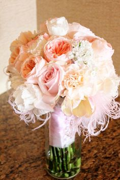 feathers maribou juliet garden rose roses lizzy carnations allium sweet avalanche roses pink peach wedding bouquet balboa bay club newport fringed tulips libretto parrot tulip
