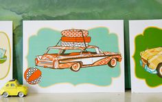 Find a pile of charming illustrations you can print out at The Handmade Home, including a set of retro automobiles. You can also download an alphabet for the nursery, kitchen utensils, campers, and more. Use them as postcards, gift tags, framed art, you name it. See all the free printables here.