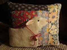 PRIMITIVE ~ SHEEP ON ANTIQUE LOG CABIN QUILT PILLOW ~ ORIGINAL FOLK ART