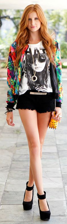 The floral bomber jacket pops! Pretty!