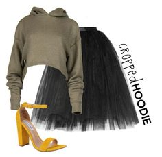 """""""cropped hoodie"""" by josephine-smith ❤ liked on Polyvore featuring Ballet Beautiful and Steve Madden"""