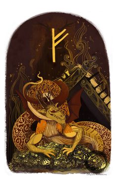 My latest illustration .  This represents the norse rune Fehu .  Based on the runic poems : Fe causes strife amongst friends The wolf feeds in the forest Fe is joy to man strife amongt kin path of the serpent The snake lies coiled Hidden, it waits beneath like a frost-covered field Strife that kinsmen suffer. Copyright of Dilyana Bozhinova . ALL RIGHTS RESERVED