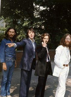 The Beatles. Photo shoot for the 'Abbey Road' album cover – London, August 1969