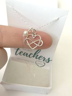 6d5e62a8d Kindergarten Teacher Gift - Silver Teacher Necklace - Principal Gift  Personalized - Custom Gift for Teachers - Christmas Gift for Teacher