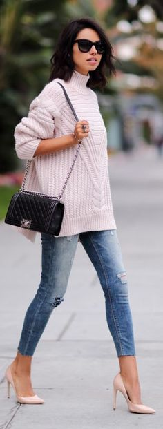 Light Pink Oversize Cable Knit Turtleneck by Vivaluxury