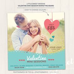 Valentine Mini Session / Photography Marketing Board  - Photoshop Template for photographers (DM13) - INSTANT DOWNLOAD