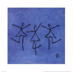 Peace - Blue Dancers #Poster Print by Joyce McAndrews People Art Music Dance Abstract Modern Decorating Ideas Contemporary Figurative Scandinavian Style