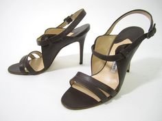MANOLO BLAHNIK Brown Leather Ankle Strap Sandal Pumps Sz 36 6 at www.ShopLindasStuff.com