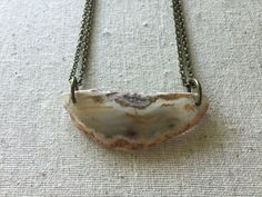 Hand Drilled White Agate Slice Necklace by ArcherPlusHare on Etsy