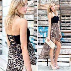 LOVE this hi-low dress ... get it here http://www.dailylook.com/c/2012-08-02-leopard-strapless-dress/1/559.html
