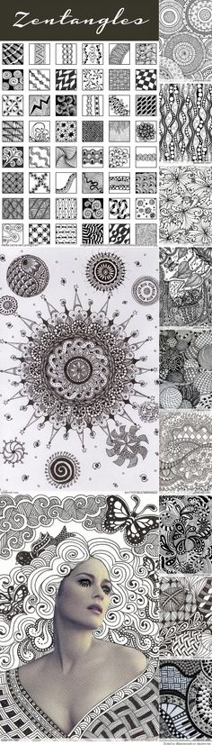 Ideas Drawing Ideas Art Doodles Zen Tangles For 2019 Zentangle Drawings, Doodles Zentangles, Doodle Drawings, Zantangle Art, Zen Art, Doodle Patterns, Zentangle Patterns, Art Patterns, Zen Doodle