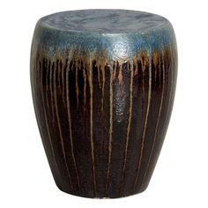Ceramic Rain Garden Stool with Cascade Blue and Brown Glaze