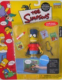 BARTMAN The Simpsons Series 5 World Of Springfield Interactive Action Figure by Playmates. $24.99. BARTMAN The Simpsons Series 5 World Of Springfield Interactive Action Figure. Figures stand approximatetly 5 inches tall.. Originally released in 2000 - RETIRED/ OUT OF PRODUCTION. Features Intelli-tronic Voice Activation -Just move them around any compatible World of Springfield Interactive Environment (sold seperately) to hear them talk.. Ages 4 and up. From Playmates....