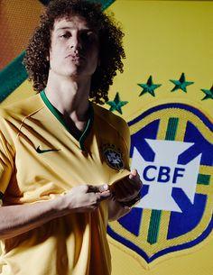 david luiz poses in the new brazil kit by NIKE