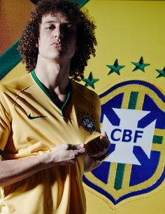 david luiz poses in the new brazil kit by NIKE