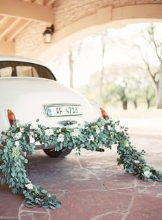 An elegant get-away ride: http://www.stylemepretty.com/2015/03/27/neutral-la-rio-mansion-wedding-inspiration/ | Photography: Mint Photography - http://mymintphotography.com/