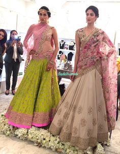 Anushree Reddy - Ivory lehenga with floral dupatta and parrot green lehenga with pink dupatta - Harper's Bazaar Bridal masterclass 2015 Indian Wedding Outfits, Bridal Outfits, Indian Outfits, Indian Weddings, Indian Clothes, Green Lehenga, Indian Lehenga, Floral Lehenga, Pink Saree