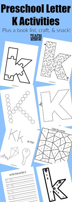 Preschool Letter of the Week Curriculum- Letter K activities includes a Letter K printable pack, K book list, K snack and K craft!