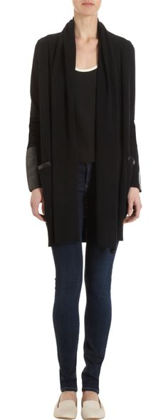 Barneys New York CO-OP Leather Trimmed Drape Cardigan LOVE IT Drape  Cardigan dd518606a