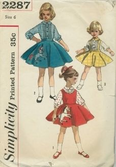 An undated Simplicity Pattern 2287.  Child's Blouse, Jumper and skirt:  Blouse has tucked front; 3/4 set-in sleeves; small collar.  V. 1 jumper has low round neckline front and back; back button fastening; circular skirt with gay horse applique.  V. 2 skirt is circular; horse applique is same fabric as blouse.  V. 3 skirt has suspenders that criss-cross in back.  Blouse collar and sleeve bands are of skirt fabric.