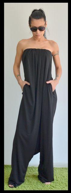 Black Jumpsuit/Maxi Loose jumpsuit /Strapless jumpsuit /Drop