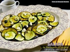 Eggplant and Zucchini Salad with goat cheese and olives