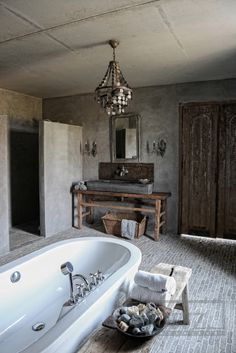 Floor tile from Castle Stones and the walls are from a whitewash of Pure & Original. Furniture from Hoffz. Rustic Bathroom Designs, Rustic Bathroom Vanities, Stone Bathroom, Rustic Bathrooms, Bathroom Interior Design, Modern Bathroom, Bathroom Ideas, Bathroom Organization, Bathroom Beadboard