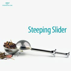 No need to fiddle with a latch on this Steeping Slider loose leaf tea infuser. Just pull back the thumb hold and scoop!