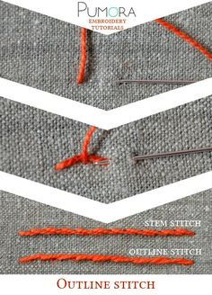 Pumora's embroidery stitch lexicon: the outline stitch