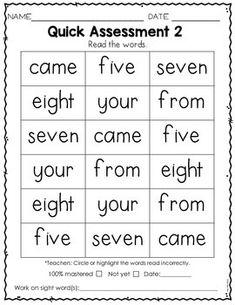 Sight Word Practice Kindergarten Set 4 Phonics Reading, Teaching Phonics, Teaching Kindergarten, Kindergarten Assessment, Reading Assessment, Teaching Sight Words, Sight Word Practice, Site Words, Preschool Writing